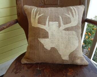 Painted Burlap TEXAS ANTLERS Throw Accent Pillow Custom Colors Available Home Decor