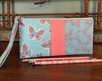 Wristlet - Pencil Pouch  - Turquoise, Silver, and Coral mixed patterns