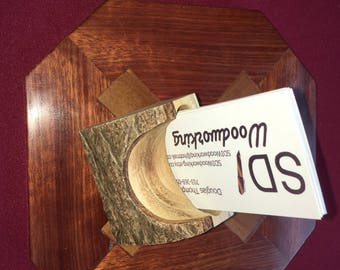Handcrafted Paulownia Wood Desk Top Business Card Holder