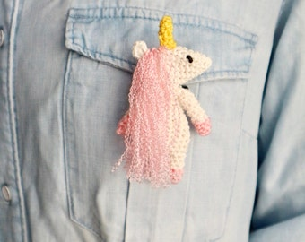 Unicorn pin Crochet brooch Unicorn brooch Unicorn badge Unicorn gift Brooch for girls Handmade brooch Amigurumi unicorn Gift under 10