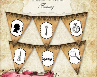 Sherlock Holmes Bunting, Printable Party Banner, Detective Mystery Digital Collage, INSTANT DOWNLOAD