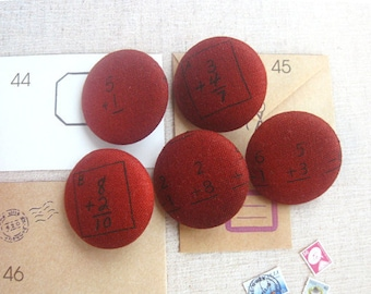 Handmade Dark Red Black Numbers Math Geek Novelty Fabric Covered Buttons, Numbers Math Fridge Magnets, 1.2 Inches 5's