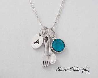 Fork and Spoon Necklace - Very Dainty 925 Sterling Silver Utensils Jewelry - Food Gifts - Chef Gifts - Personalized Initial and Birthstone