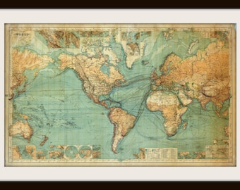 Vintage world map etsy gumiabroncs Choice Image