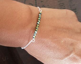 Glass Bead Sterling Silver Bracelet, Beaded Bracelet, Minimal Jewelry