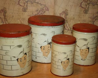 Vintage Parmeco Canister Set - Chef - item #2460