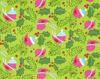 28050  David Walker Beach  Merry xmas Jolly Holly in bright color   1/2 yard