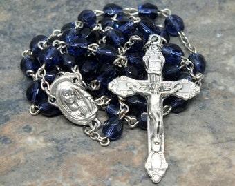 Czech Glass Rosary in Tanzanite, 5 Decade Rosary, Catholic Rosary; Decmeber Rosary