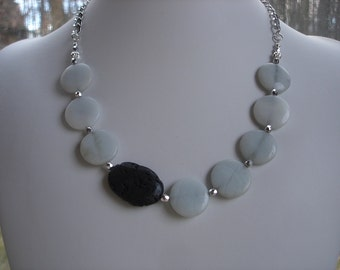 Amazonite and Black Lava Stone Asymmetrical Bib Necklace, Gemstone Jewelry, OOAK Jewelry