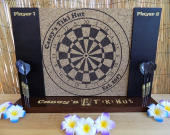 SALE! 40% OFF! Happy B-day Etsy! Personalized Engraved Dart Board w/ Chalkboard sides and Dart Holding base. A man cave must have!