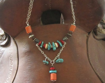 Horse jewelry,turquoise jewelry,boho,country,western jewelry cowgirl,coral beads,Ooak jewelry,edanebeadwork