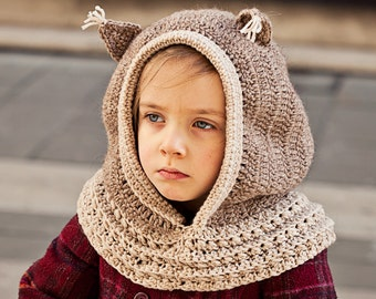 Crochet PATTERN  - Squirrel Hooded Cowl (baby to adult)