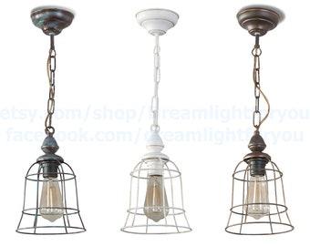 Rustic lighting Kitchen Chandelier Cage Pendant light Industrial light Country chandelier Pendant lighting Modern lighting Kitchen lighting