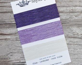 Irish Waxed Linen Thread, Bookbinding Thread, 4 ply, Royalty colors, Plum, Lavender, White, 5 yards each color