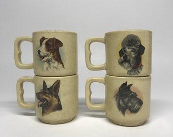 Set of 4 Artistic Dog Portrait Themed Mug Set / Coffee Mugs / Pet Lovers