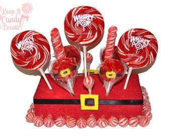 Santa Rectangle Lollipop Centerpiece, Christmas Centerpiece, Candy Centerpiece, Santa Theme Centerpiece, Santa Candy Table