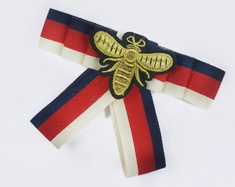 Striped Bow Tie Brooch with Gold Bee, Bowknot Brooch, Bow Pin