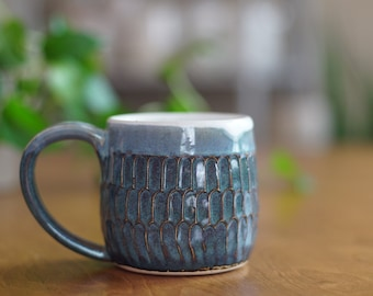 Blue Carved Mug 022