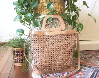 Vintage gewebt Leder Handtasche LEDERTOTE Tasche / Umhängetasche Boho Tasche