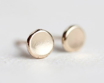 Small gold stud earrings, pebble, solid 14k gold, gift for her, organic, recycled, minimalist, matte finish, post earrings