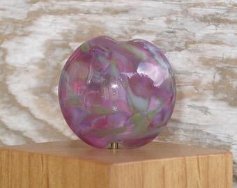 Handmade Glass Lampwork Lentil Focal Bead - Pinkish Purple Potpourri