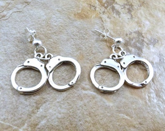 Sterling Silver Handcuff Charms on Sterling Stud Earrings - 0333