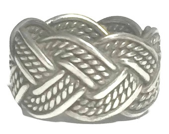Vintage Rope Ring Size 6 Plus BoHo Ring Size 6 Sterling Silver Ring Southwest Women Ring Size 6 Women Southwest Ring Vintage Rope Band