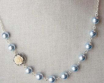 Handmade Ivory Rose Necklace Blue Pearl Necklace Ivory Flower Necklace Bridesmaid Necklace Ivory Blue Pearl Necklace Resin Flower Necklace