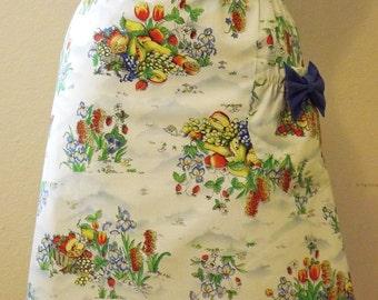 Womens Apron Vintage Apron Blue Apron Strings Apron Gift for Mom Gift for Sister Gift for Wife Gift for Friend Cotton Linens Kitchen Cooking