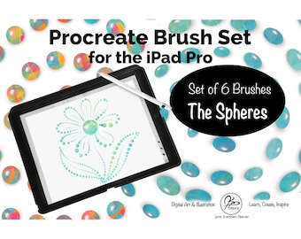 Procreate Set of 6 Custom Brushes for iPad Pro with Apple Pencil - The Spheres - for Digital Illustration and Lettering