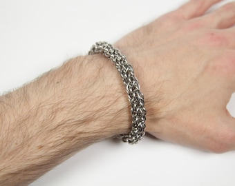 Candy Cane Cord Bracelet, Chainmaille Bracelet, Stainless Steel, Chainmail Bracelet, Chain Maille, Chain Mail, Mens Bracelet, Mens Jewelry