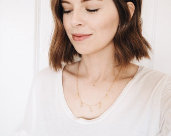 Diamond Charm Statement Necklace