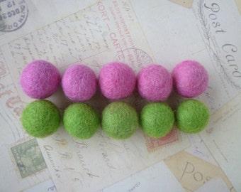 Felt Balls x 10 - Lime Green and Pink - 2cm