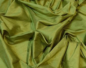 "Dark Moss Green Dupioni Silk, 100% Silk Fabric, 54"" Wide, By The Yard (S-266)"