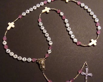 Customized First Holy Communion rosary - Pink Opal