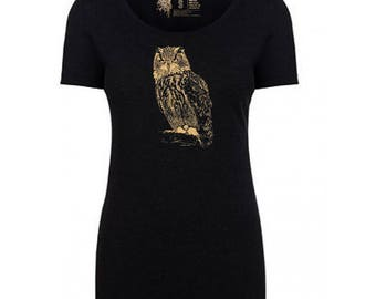 Owl Tri-blend Scoop Neck T-Shirt, 10% donated to animal causes
