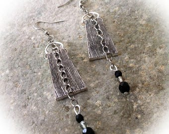 Earrings, tribal, aged silver metal, trapezoid.