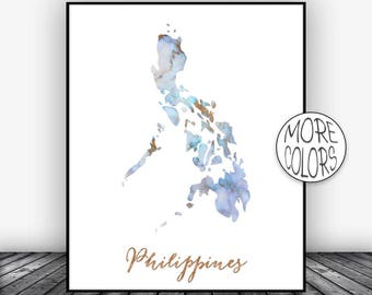 Philippines art etsy more colors philippines print philippines art print watercolor map publicscrutiny Images