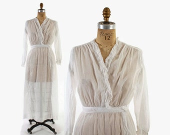 Vintage EDWARDIAN Tea DRESS / 1910s White Cotton Voile & Lace Day Dress S