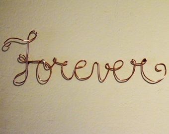 Forever Wire Art, Wall Art, Wall Decor, Forever, Wire Art, Wire Wall Art, Wire Sculpture, Wall Art Decor, Wire Sign, Copper Wire Art, Word