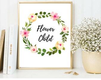 Flower Child Print » Nursery Wall Art » Nursery Printable » Flower Child Artwork » Flower Wall Art » Flower Printable » Flower Wall Decor