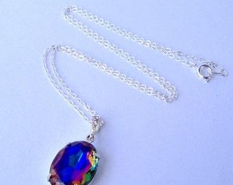 Rainbow Rhinestone Necklace / vintage rhinestone / Mother's Day / gift for her / birthday gift / girlfriend gift / volcano rhinestone