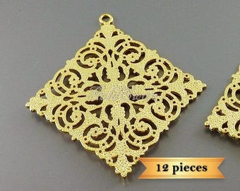 12 pc lot large 49mm x 46mm diamond shaped filigrees in matte gold 2054-MG-BULK (12 pieces)