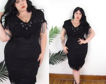 Plus Size Vintage 1980's Ruched Fringe Dress Size L XL 12 14 16