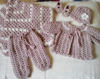 Dusty Rose 5 Piece Layette Set for 0 to 3 Months