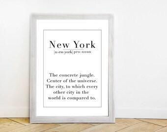 New York Definition Wall Art Print - Black + White Travel Poster - Wanderlust Quote - Funny Minimalist Traveler Typography Artwork
