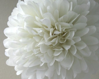 Ivory Tissue Pom Pom .. Baptism Decor / Wedding Decoration / Bridal Shower / Birthday / Party Decoration