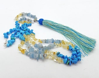 Aquamarine Citrine Turquoise Howlite Tassel Long Necklace Natural Stone Ocean Beach Jewelry