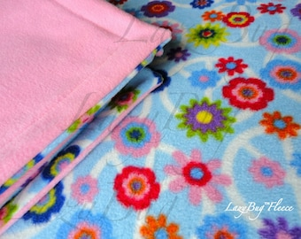 Pack n Play Sheet and Blanket Set 'Peace Signs and Flowers' Handmade Baby Shower Gift