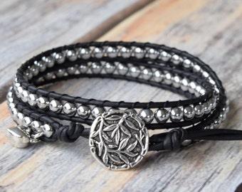 Silver Wrap Bracelet, Wrap Bracelet, Black Wrap Bracelet, Bracelet Wrap, Beaded Wrap Bracelet, Beaded Leather Wrap, Boho Wrap Bracelet